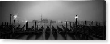 Venice Gondolas On A Foggy Morning Panoramic View Canvas Print by Melanie Viola