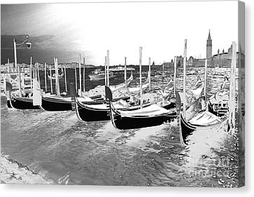 Canvas Print featuring the photograph Venice Gondolas Silver by Rebecca Margraf
