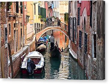 Venice Gondolier Canvas Print by Frozen in Time Fine Art Photography