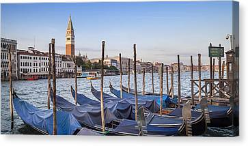 Venice Grand Canal And Goldolas Panoramic View Canvas Print by Melanie Viola