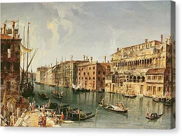 Venice, Grand Canal And The Fondaco Dei Turchi  Canvas Print by Michele Marieschi