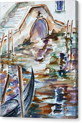 Canvas Print featuring the painting Venice Impression I by Xueling Zou
