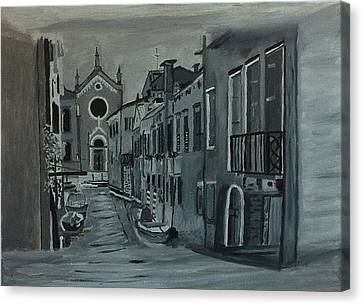 Canvas Print featuring the painting Venice In Grey And White by Rod Jellison