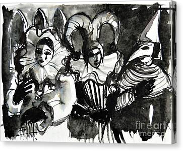 Trio Canvas Print - Venice Masks Trio by Mona Edulesco