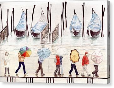 Venice Rain Canvas Print by Julia Collard
