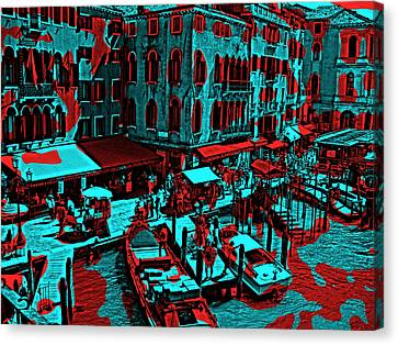 Venice Red And Blue Canvas Print by Daniel Hagerman