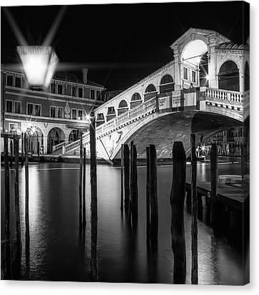 Venice Rialto Bridge At Night - Monochrome Canvas Print by Melanie Viola