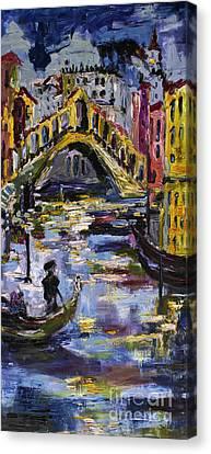 Venice Rialto Bridge Gondolier Oil Painting  Canvas Print by Ginette Callaway