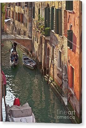 Venice Ride With Gondola Canvas Print by Heiko Koehrer-Wagner