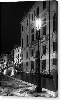 Venice Rio Di San Vio And Palazzo Cini - Monochrome Canvas Print by Melanie Viola