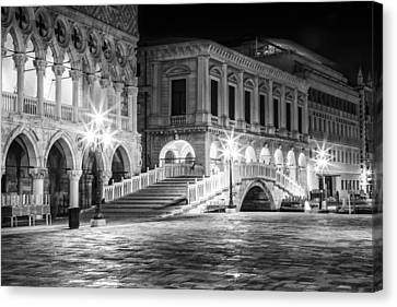 Venice Riva Degli Schiavoni By Night Black And White Canvas Print by Melanie Viola