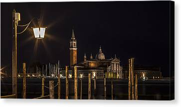 Venice San Giorgio Maggiore At Night Panoramic View Canvas Print by Melanie Viola