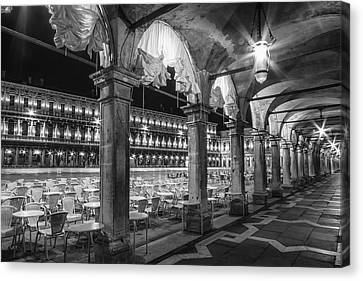Venice St Mark's Square At Night Black And White Canvas Print