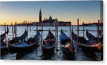 Venice Sunrise With Gondolas Canvas Print