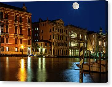 Venice Super Moon Canvas Print by Andrew Soundarajan