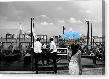 Canvas Print featuring the photograph Venice Umbrella by Andrew Fare