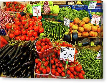 Canvas Print featuring the photograph Venice Vegetable Market by Harry Spitz
