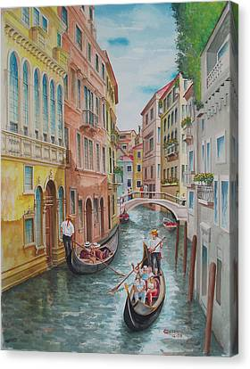 Venice Waterway  Italy Canvas Print by Charles Hetenyi