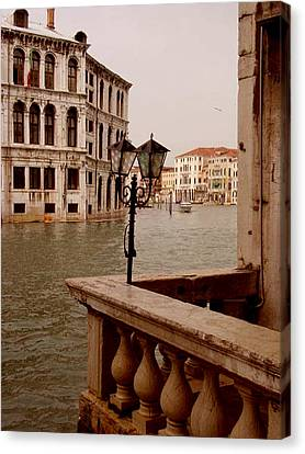 Canvas Print featuring the photograph Venice Waterway by Nancy Bradley