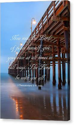 Ventura Ca Pier With Bible Verse Canvas Print by John A Rodriguez
