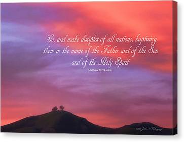 Ventura Ca Two Trees At Sunset With Bible Verse Canvas Print by John A Rodriguez