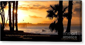 Canvas Print featuring the photograph Ventura California Sunrise With Bible Verse by John A Rodriguez