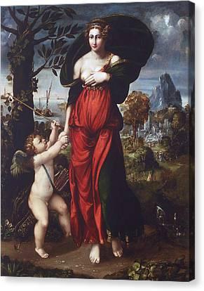 Venus And Cupid Canvas Print by Battista Dossi