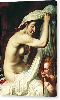 Venus And Cupid Canvas Print by Werner Jacobsz van den Valckert