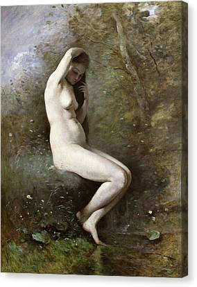 Venus Bathing Canvas Print by Jean Baptiste Camille Corot
