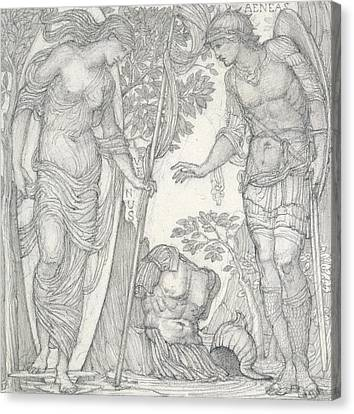 Venus Bringing Armor To Aeneas Canvas Print by Sir Edward Coley Burne-Jones