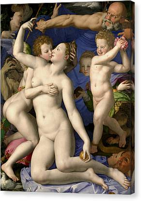 Venus, Cupid, Folly And Time Canvas Print by Agnolo Bronzino