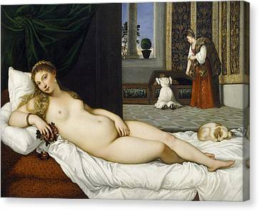 Long Bed Canvas Print - Venus Of Urbino Before 1538 by Tiziano Vecellio
