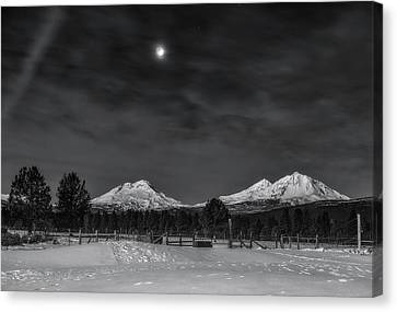 Canvas Print featuring the photograph Venus Over Three Sisters by Cat Connor