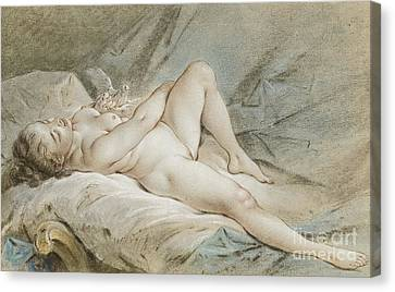 Venus Playing With Two Doves Canvas Print
