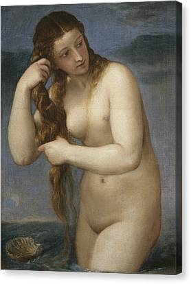 Venus Rising From The Sea Canvas Print by Titian