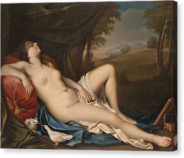 The Followers Canvas Print - Venus Sleeping In A Landscape With Two Doves In The Foreground by Follower of Giovanni Antonio Pellegrini