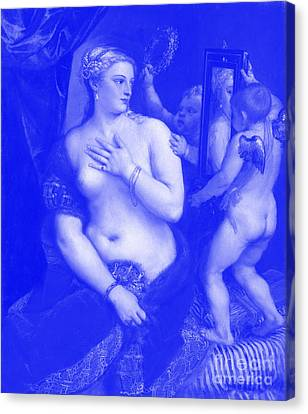 Venus With A Mirror - Titian Japanese Porcelain Concept Canvas Print