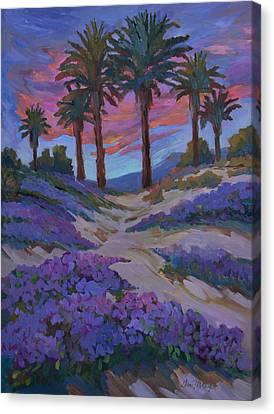 Verbena And Desert Sunrise Canvas Print by Diane McClary