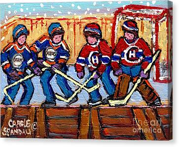 Verdun Hockey Rink Paintings Edmonton Oilers Vs Hometown Habs Quebec Hockey Art Carole Spandau       Canvas Print by Carole Spandau