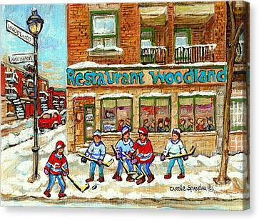 Verdun Pizza Restaurant Woodland Pizza Montreal Winter Scene Hockey Art Painting Carole Spandau      Canvas Print by Carole Spandau