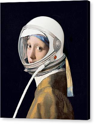 Vermeer - Girl In A Space Helmet Canvas Print by Richard Reeve