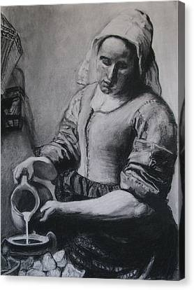 Vermeer's Milkmaid In Charcoal Canvas Print by Art Nomad Sandra  Hansen
