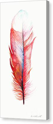 Vermilion Feather Canvas Print by Willow Heath