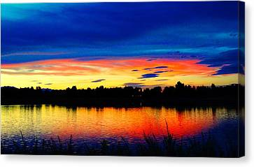 Canvas Print featuring the photograph Vermillion Sunset by Eric Dee