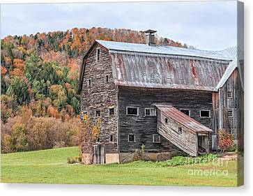 Vermont Barn Autumn Canvas Print by Edward Fielding