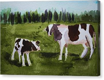Canvas Print featuring the painting Vermont Cow And Calf by Donna Walsh
