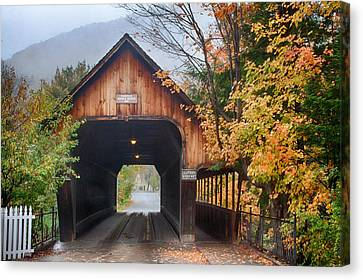 Vermont Fall Colors Over The Middle Bridge Canvas Print
