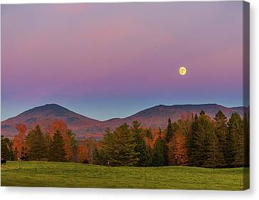 Vermont Fall, Full Moon And Belt Of Venus Canvas Print
