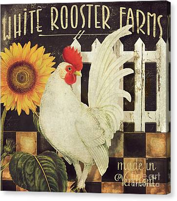 Vermont Farms White Rooster Canvas Print by Mindy Sommers