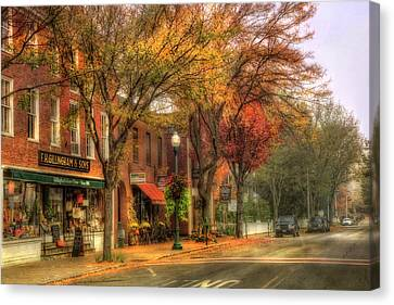 Autumn Scenes Canvas Print - Vermont General Store In Autumn - Woodstock Vt by Joann Vitali